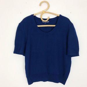 St John Scoop Neck Short Sleeve Navy Sweater L